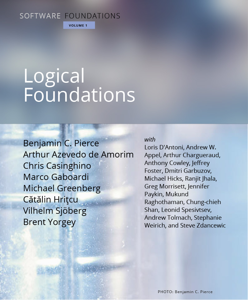 The cover of Software Foundations, Vol. 1: Logical Foundations.